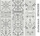 set of three decorative designs.... | Shutterstock .eps vector #385463308