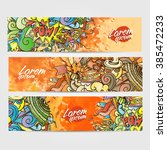 colorful cartoon banners of... | Shutterstock .eps vector #385472233