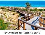 wooden boardwalk on the los...   Shutterstock . vector #385481548