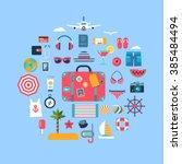 set of flat icons for summer... | Shutterstock .eps vector #385484494