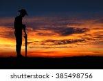 silhouette of australian anzac... | Shutterstock . vector #385498756