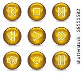 walkman web icons  gold glossy... | Shutterstock .eps vector #38551582