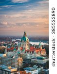 Stock photo aerial view of the city hall of hannover germany 385532890