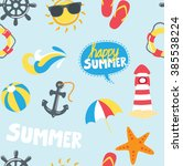 summer themed icons background | Shutterstock . vector #385538224