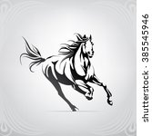 Stock vector silhouette of the running horse 385545946