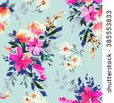 beautiful hand painted floral... | Shutterstock .eps vector #385553833