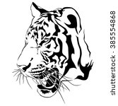 tiger head black and white ... | Shutterstock .eps vector #385554868