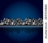 style cartoon night city... | Shutterstock .eps vector #385554880