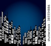 style cartoon night city... | Shutterstock .eps vector #385554886