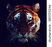 low poly vector tiger... | Shutterstock .eps vector #385555246