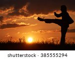 man practicing karate on the... | Shutterstock . vector #385555294