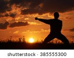 man practicing karate on the... | Shutterstock . vector #385555300