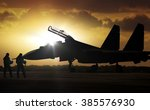 military aircraft at airfield... | Shutterstock . vector #385576930