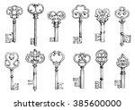 ornamental vintage skeleton... | Shutterstock .eps vector #385600000