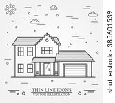vector thin line icon  suburban ... | Shutterstock .eps vector #385601539