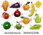 cartoon fruits with banana and... | Shutterstock .eps vector #385602208