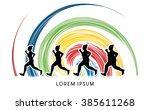 fat woman turning into thin... | Shutterstock .eps vector #385611268