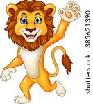 Cartoon Funny Lion Waving