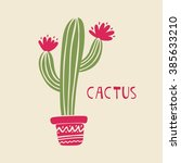 mexican cactus print | Shutterstock .eps vector #385633210