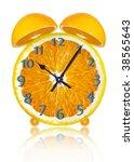 orange clock on a white... | Shutterstock . vector #38565643