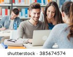 group of college students... | Shutterstock . vector #385674574