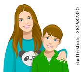 brother and sister | Shutterstock .eps vector #385682320