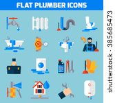 plumbing service flat icons set ... | Shutterstock .eps vector #385685473