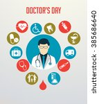 doctor with stethoscope around... | Shutterstock .eps vector #385686640