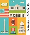 Washington Icon Set Illustration