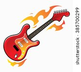 burning red electric guitar  ... | Shutterstock .eps vector #385700299