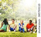students friendship team... | Shutterstock . vector #385703110