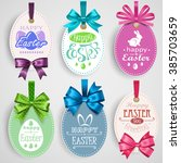 easter emblem with bows | Shutterstock .eps vector #385703659