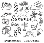 set of summer doodle isolated... | Shutterstock . vector #385705558