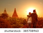 young couple tourism see view... | Shutterstock . vector #385708963