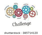 gears and challenge mechanism | Shutterstock .eps vector #385714120