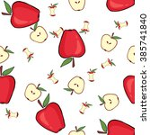 red apple while  core  half....   Shutterstock .eps vector #385741840