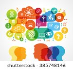 concept of modern training.... | Shutterstock .eps vector #385748146