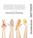 set of sewing tools and...   Shutterstock . vector #385750039