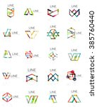 set of linear abstract logos ... | Shutterstock . vector #385760440