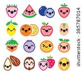 kawaii fruit and nuts cute... | Shutterstock .eps vector #385787014