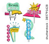vector sketch set with motel... | Shutterstock .eps vector #385791628