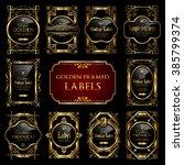 golden framed labels | Shutterstock .eps vector #385799374