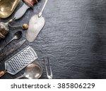Stock photo kitchen utensils on the graphite background 385806229