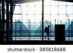 silhouette of a traveler is... | Shutterstock . vector #385818688