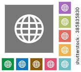 globe flat icon set on color...