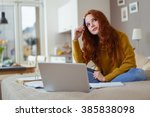 pretty young student working at ... | Shutterstock . vector #385838098