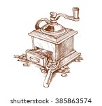 manual coffee grinder  vector... | Shutterstock .eps vector #385863574