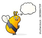 funny cartoon bee with thought... | Shutterstock .eps vector #385884709