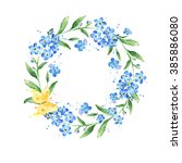 watercolor forget me not wreath.... | Shutterstock . vector #385886080
