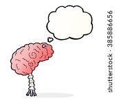 cartoon brain with thought... | Shutterstock .eps vector #385886656